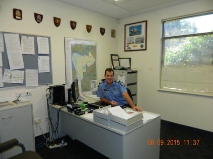 Senior Sergeant Ash Goy at the helm